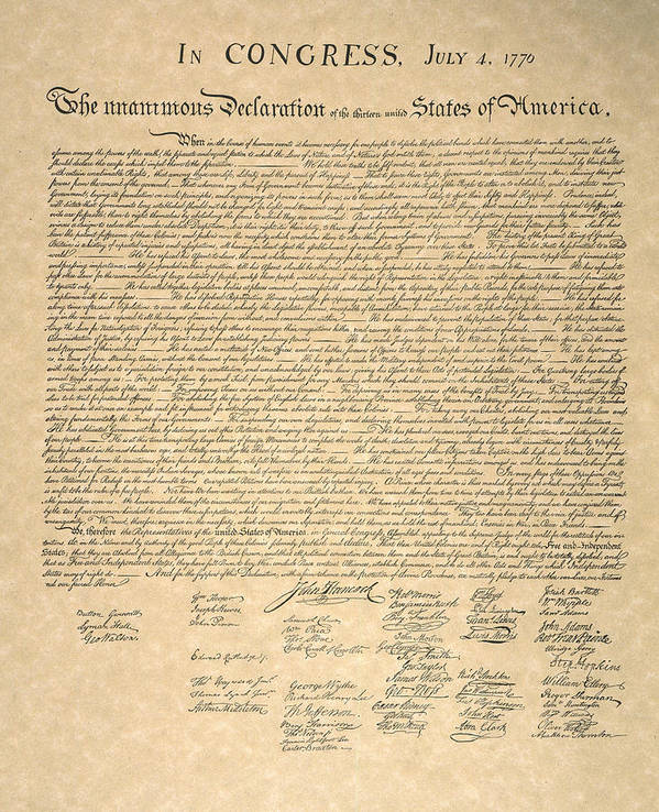 1776 Print featuring the photograph Declaration Of Independence by Granger