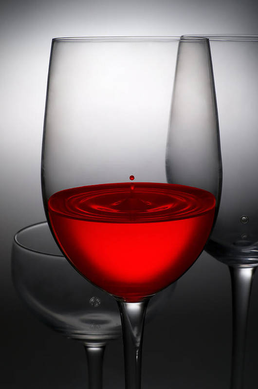 Abstract Print featuring the photograph Drops Of Wine In Wine Glasses by Setsiri Silapasuwanchai