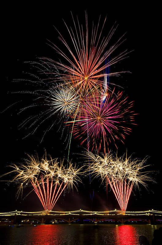 July 4th Print featuring the photograph Fireworks by Saija Lehtonen