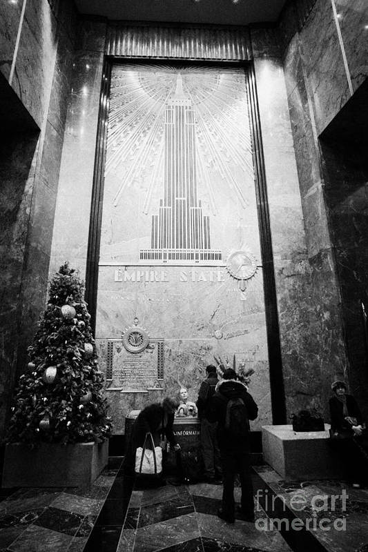Usa Print featuring the photograph Foyer Of The Empire State Building New York City Usa by Joe Fox