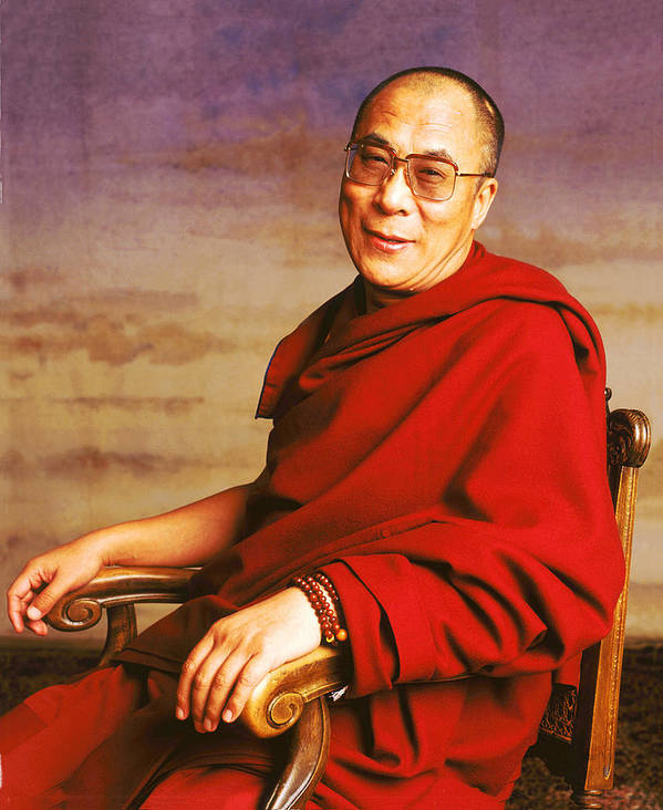 Holy Figures Print featuring the photograph H.h. Dalai Lama by Jan Faul