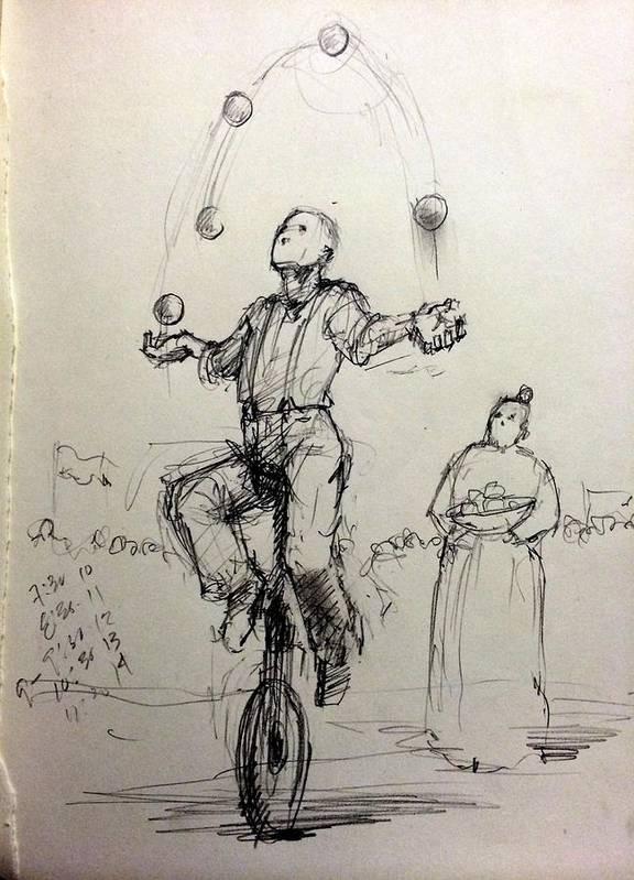Juggler Print featuring the drawing Juggler by H James Hoff