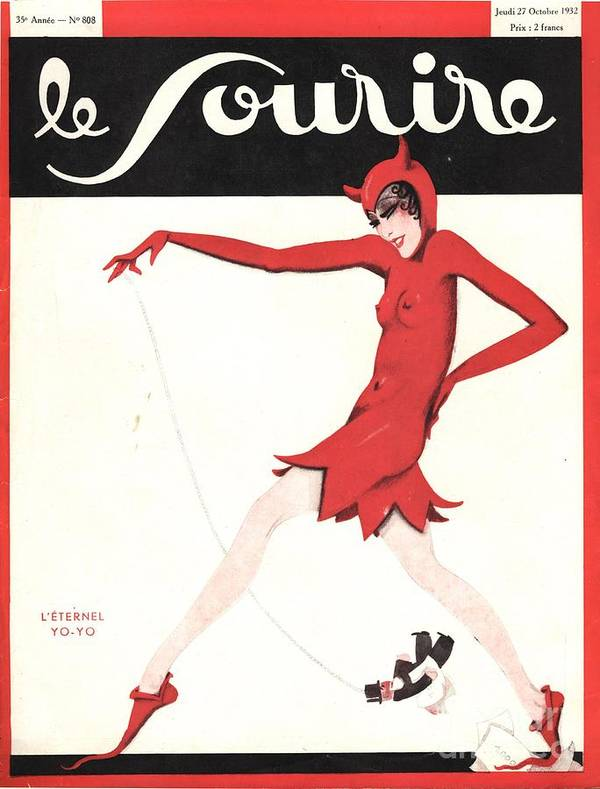 1930�s Print featuring the drawing Le Sourire 1930s France Glamour by The Advertising Archives