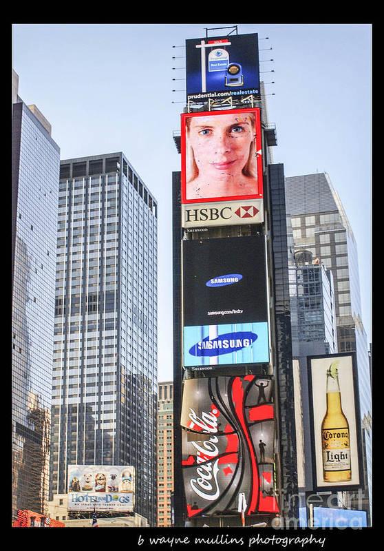New York Print featuring the photograph New York New York by B Wayne Mullins