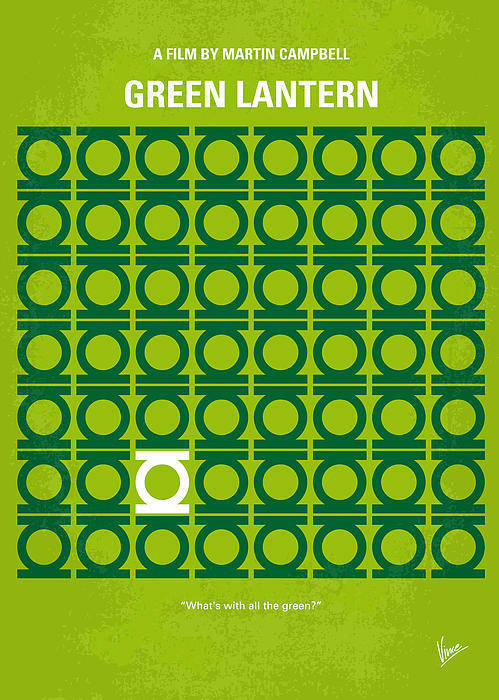Green Print featuring the digital art No120 My Green Lantern Minimal Movie Poster by Chungkong Art