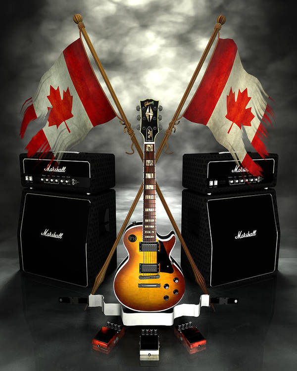 Rock N Roll Print featuring the digital art Rock N Roll Crest - Canada by Frederico Borges