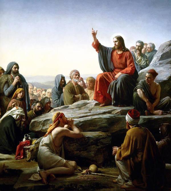 Carl Bloch Print featuring the digital art Sermon On The Mount by Carl Bloch