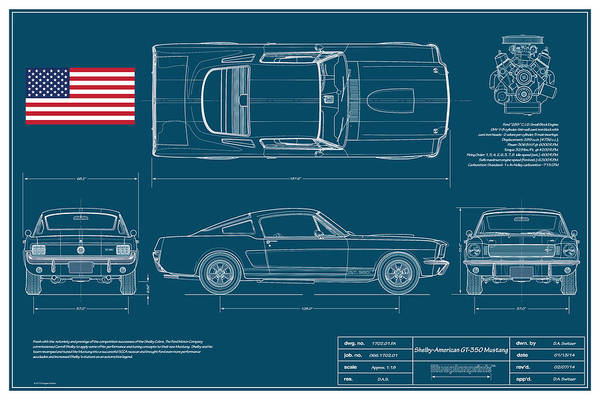 Shelby Print featuring the digital art Shelby Mustang Gt350 Blueplanprint by Douglas Switzer