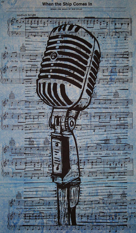 Mic Print featuring the drawing Shure 55s On Music by William Cauthern