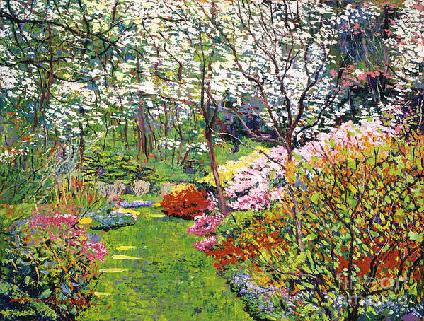 Landscape Print featuring the painting Spring Forest Vision by David Lloyd Glover