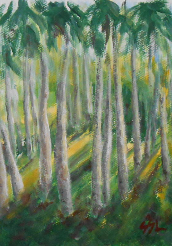 Landscape Print featuring the painting Tropical by Jane See