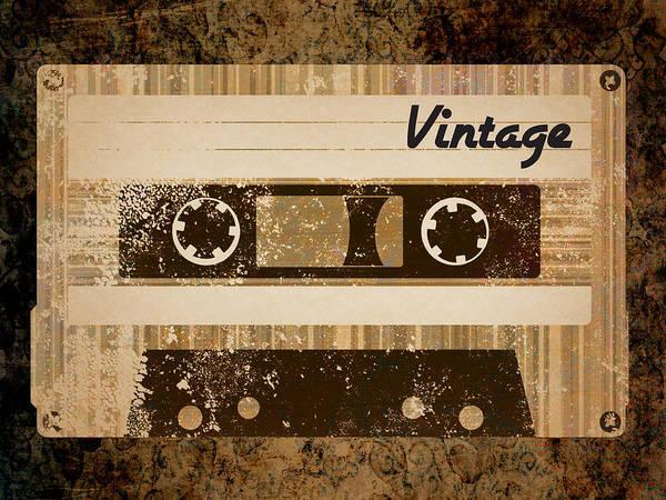 Vintage Print featuring the digital art Vintage Cassette by Sara Ponte
