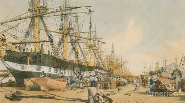 Boat Print featuring the painting West India Docks From The South East by William Parrot