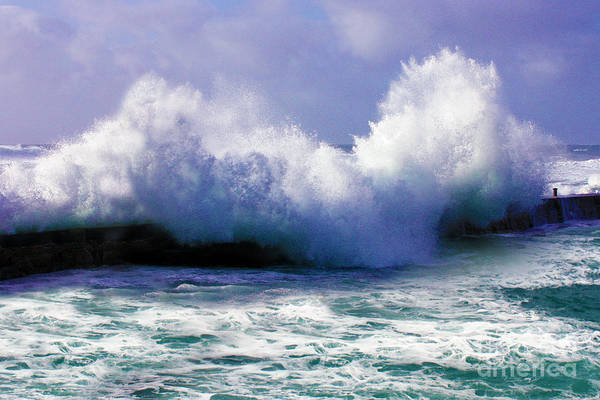 Stormy Print featuring the photograph Wild Waves In Cornwall by Terri Waters