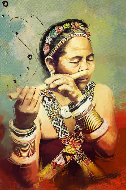 Native Art Print featuring the painting South Asian Art by Corporate Art Task Force