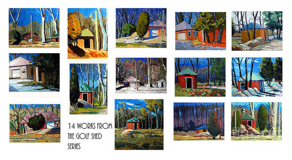 Collected Works In A Series Print featuring the photograph 14 Works From The Golf Shed Series by Charlie Spear
