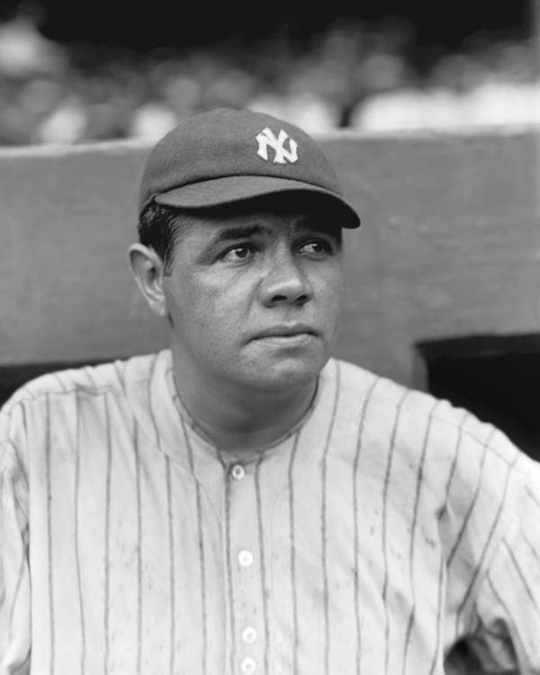 Baseball Print featuring the photograph George H. Babe Ruth by Retro Images Archive