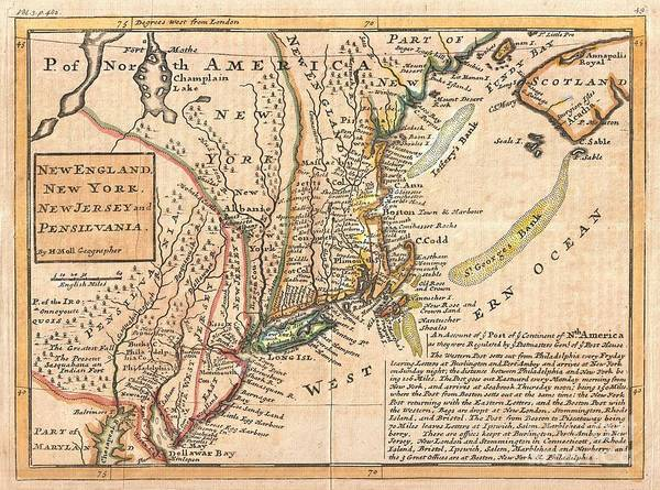 "Known Among Cartographic Historic As The ""post Map"" Print featuring the photograph 1729 Moll Map Of New York New England And Pennsylvania by Paul Fearn"