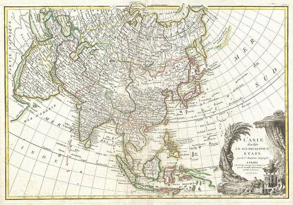 : A Beautiful Example Of Le Sieur Janvier's 1771 Map Of Asia. Covers From Africa And The Mediterranean East To Bering Strait (detroit Du Norte Ou D'anian) And South As Far As Java And New Guinea. This Map Is Most Interesting In Its Rendering Of The Largely Unexplored Extreme Northwest Of Asia. Yeco Or Hokkaido Is Mapped Only Speculatively With Its Western Borders Unknown. Shows Sakhalin Island In An Embryonic State. Just To The East Of Yeco (hokkaido) Print featuring the photograph 1770 Janvier Map Of Asia by Paul Fearn