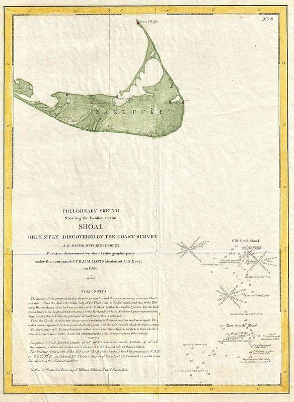 The History Of This Most Dangerous And Fatal Shoal Is Startling. Situated In Mid-ocean; Having Print featuring the photograph 1846 Us Coast Survey Map Of Nantucket by Paul Fearn