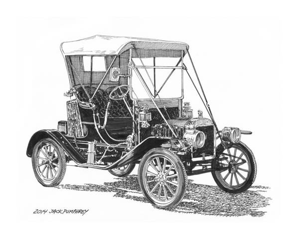 Pen & Ink Drawing By Jack Pumphrey Of The Ford Model T Print featuring the drawing 1911 Ford Model T Tin Lizzie by Jack Pumphrey