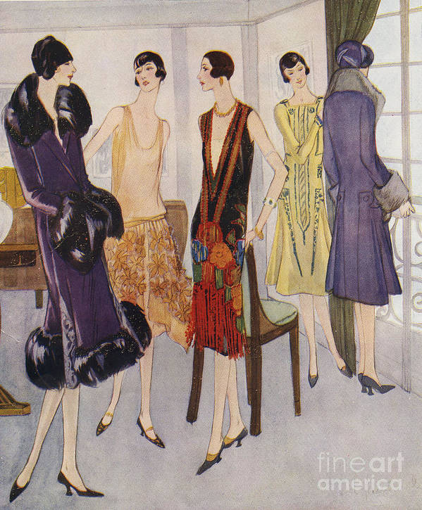 1920�s Print featuring the drawing 1920s Fashion 1925 1920s Uk Womens by The Advertising Archives