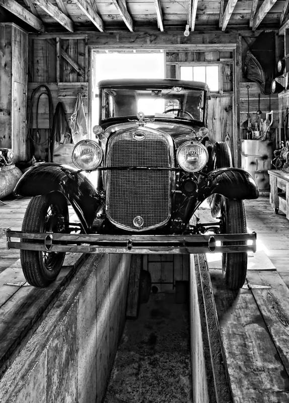 Oil Print featuring the photograph 1930 Model T Ford Monochrome by Steve Harrington