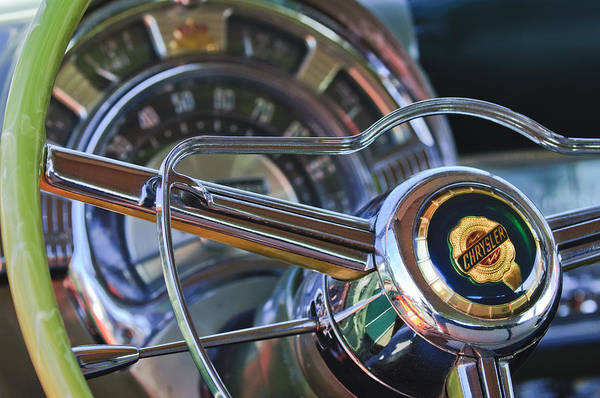 1950 Chrysler New Yorker Coupe Print featuring the photograph 1950 Chrysler New Yorker Coupe Steering Wheel Emblem by Jill Reger