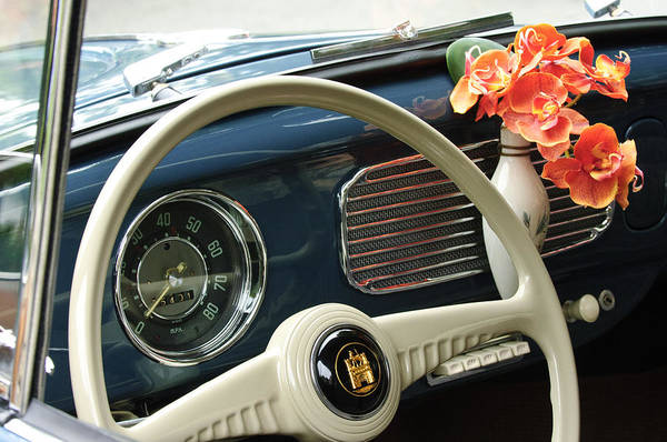 1952 Volkswagen Vw Bug Print featuring the photograph 1952 Volkswagen Vw Bug Steering Wheel by Jill Reger