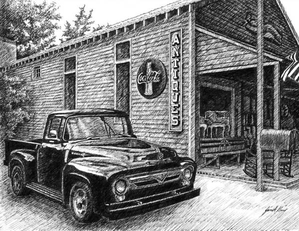 Ford Truck Print featuring the drawing 1956 Ford F-100 Truck by Janet King