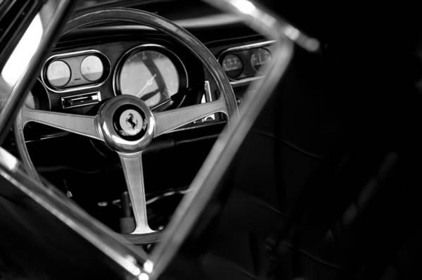 1967 Ferrari 275 Gtb 4 Steering Wheel Emblem Print featuring the photograph 1967 Ferrari 275 Gtb 4 Steering Wheel Emblem by Jill Reger