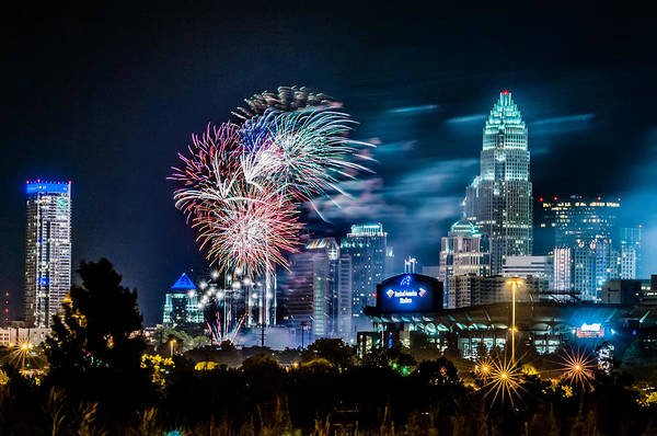 Carolina Print featuring the photograph 4th Of July Firework Over Charlotte Skyline by Alexandr Grichenko
