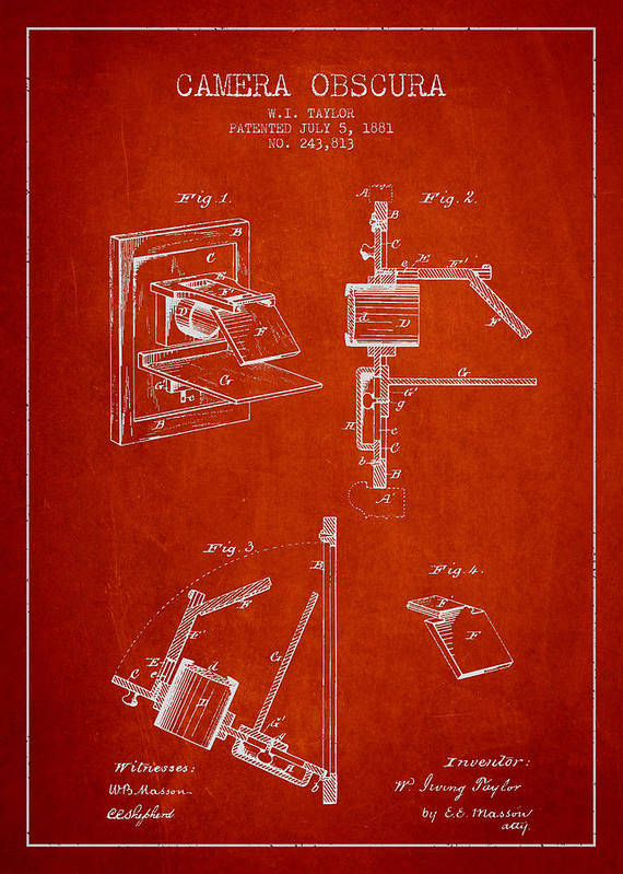 Camera Print featuring the drawing Camera Obscura Patent Drawing From 1881 by Aged Pixel