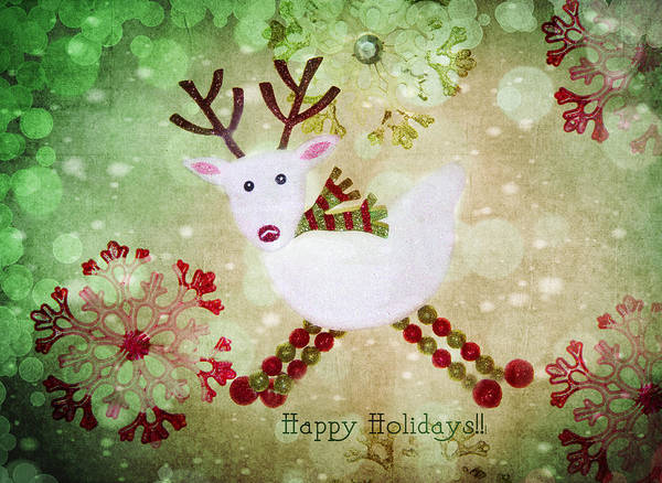 Reindeer Print featuring the photograph Happy Holidays by Rebecca Cozart