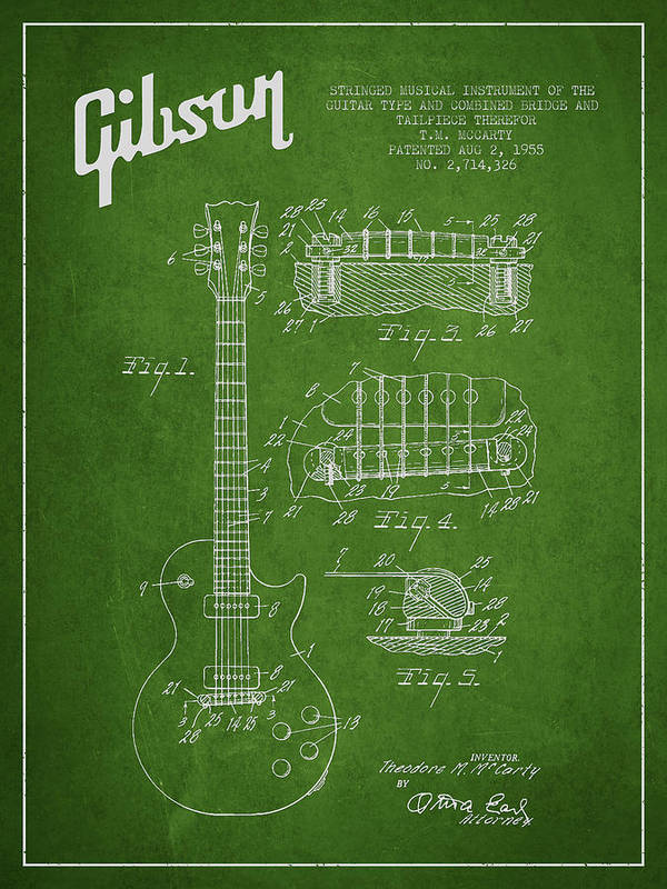 Gibson Print featuring the drawing Mccarty Gibson Les Paul Guitar Patent Drawing From 1955 - Green by Aged Pixel