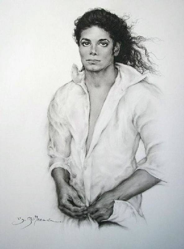 Michael Jackson Print featuring the drawing Michael Jackson by Guillaume Bruno