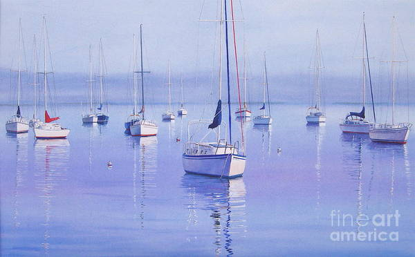 Sailboats Print featuring the painting Morning Reflections by Karol Wyckoff