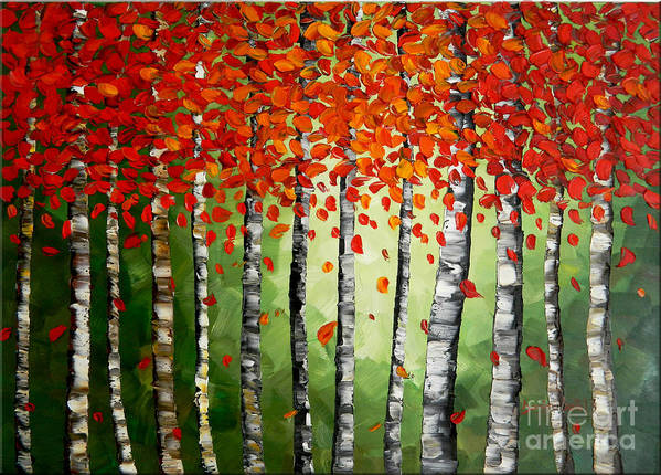 Art Print featuring the painting Rich Trees by Denisa Laura Doltu