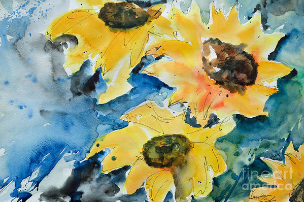 Sunflower Print featuring the painting Sunflowers by Ismeta Gruenwald