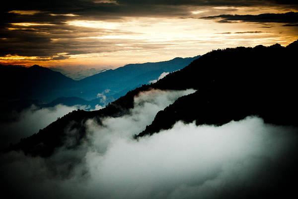 Gosaikunda Print featuring the photograph Sunset Himalayas Mountain Nepal Panaramic View by Raimond Klavins