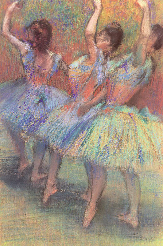 Three Dancers Print featuring the pastel Three Dancers by Edgar Degas