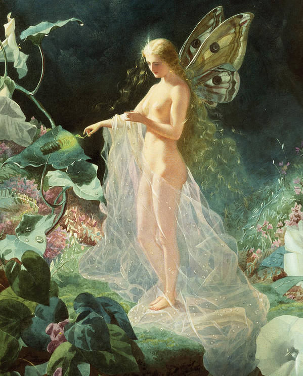 A Midsummer Night's Dream; Queen; Fairy; Nude; Female; Gossamer; Dewdrops; Lighting Taper; Glow Worm; Star; Titania; John; Simmons; John Simmons; Watercolour; Watercolor; Gouache; Ethereal; Angelic; Angel; Fantasy; Magic; Light; William; Shakespeare; William Shakespeare; Titania; Flowers; Floral; Garden; Flower; Feminine; Woman; Body; Female Body; Sheer; Heaven; Heavenly; Gossamer; Unearthly; Unworldly; Magical; Radiant; Supernatural; Pixie; Mythical; Myth; Mythological; Mythology; Legend; Lore Print featuring the painting Titania by John Simmons