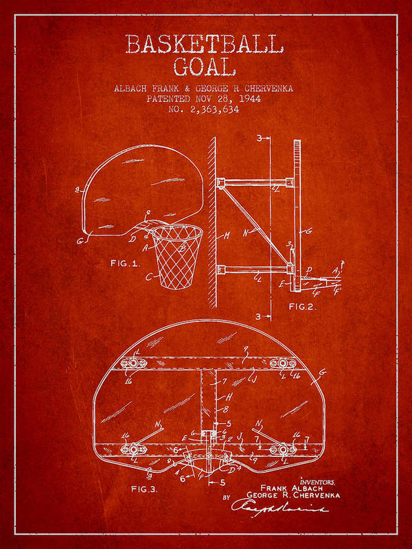 Hoop Patent Print featuring the drawing Vintage Basketball Goal Patent From 1944 by Aged Pixel