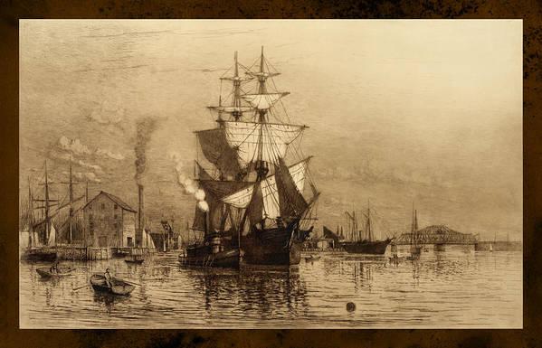 Schooner Print featuring the photograph Historic Seaport Schooner by John Stephens
