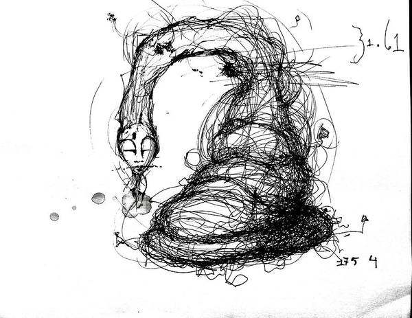 Pen And Ink Print featuring the mixed media 3161 Feeling Slow by Mark M Mellon