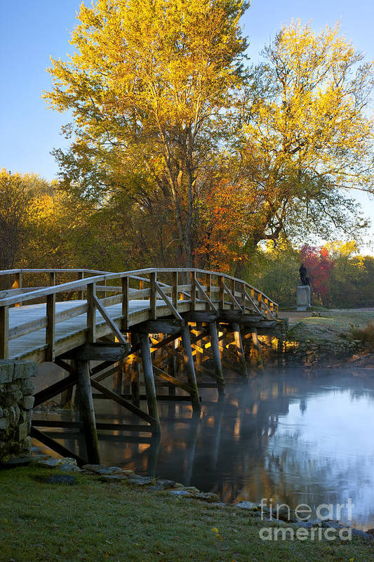Autumn Print featuring the photograph Old North Bridge Concord by Brian Jannsen