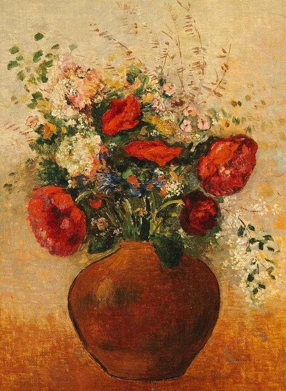 Still Life; Flower; Vase Print featuring the painting Vase Of Flowers by Odilon Redon