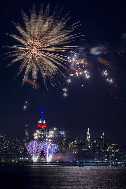 4th Print featuring the photograph 4th Of July Fireworks by Eduard Moldoveanu
