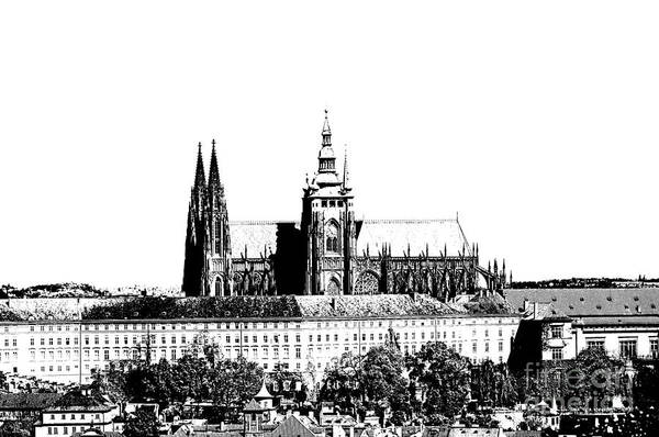 Castle Print featuring the digital art Cathedral Of St Vitus by Michal Boubin