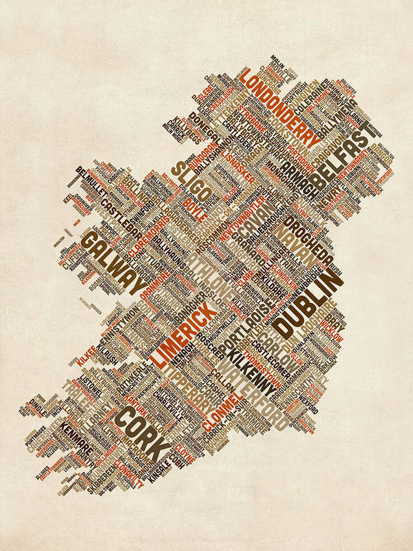 Ireland Map Print featuring the digital art Ireland Eire City Text Map by Michael Tompsett